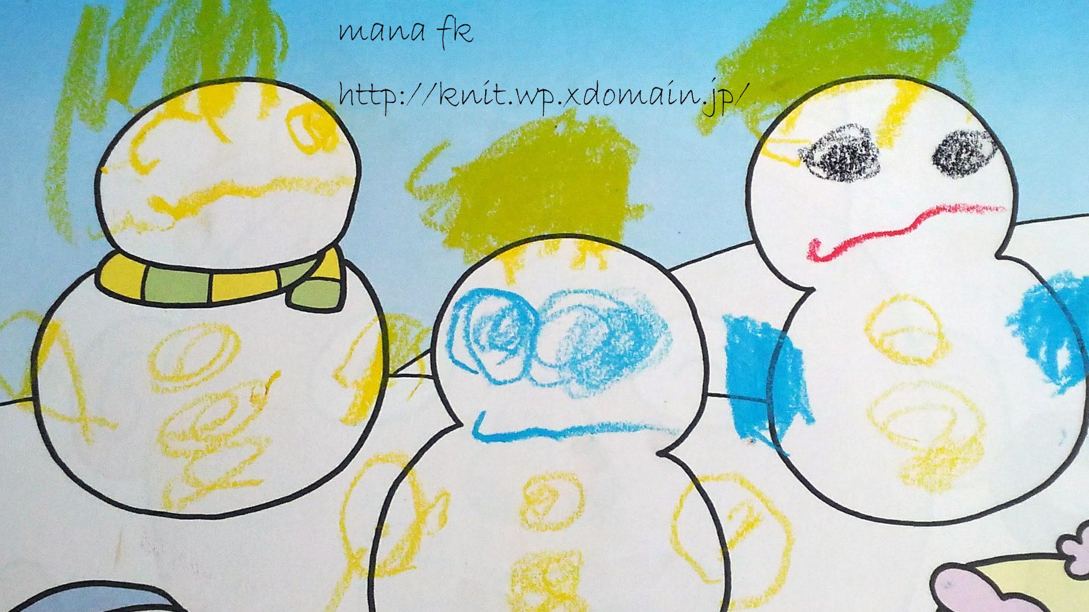 ワークの雪だるまに子どもが顔を書いた