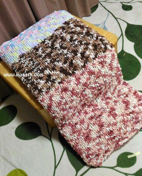 手編みの長座布団カバー
