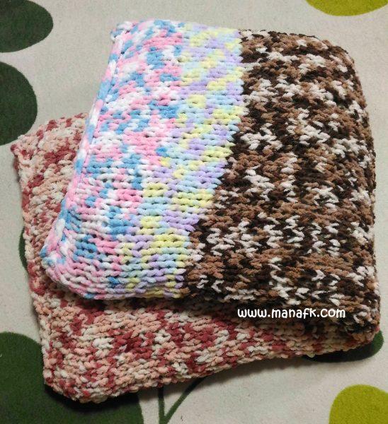 ざっくり編みの長座布団カバー